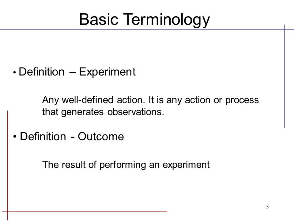 Basic Terminology Any well-defined action. It is any action or process