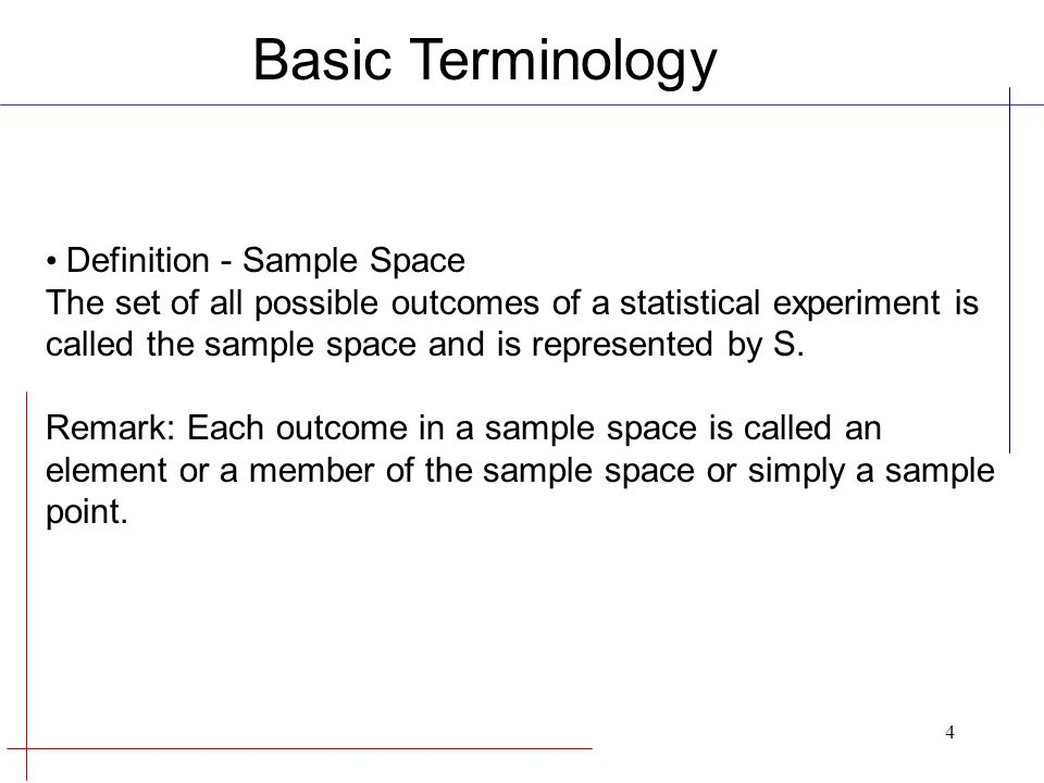 Basic Terminology Definition - Sample Space