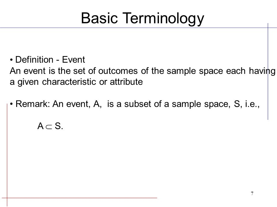 Basic Terminology Definition - Event