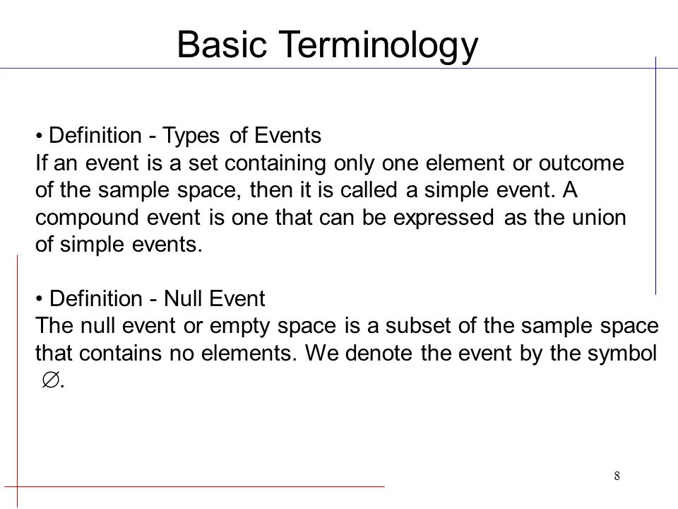 Basic Terminology Definition - Types of Events