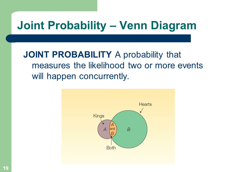 A survey of probability concepts ppt video online download 19 joint probability venn diagram ccuart Gallery