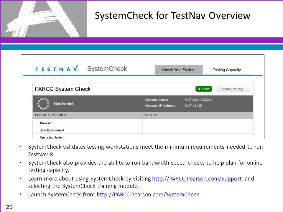 SystemCheck for TestNav Overview