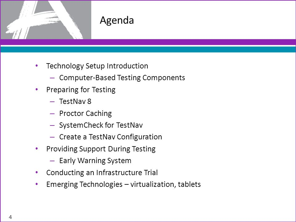 Agenda Technology Setup Introduction Computer-Based Testing Components