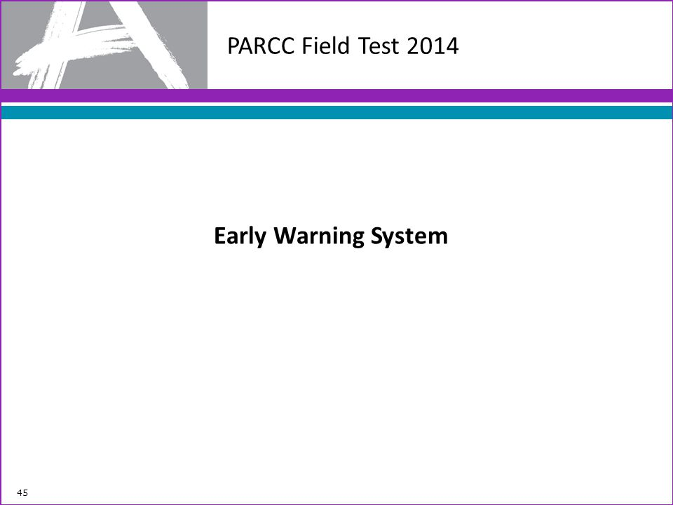 PARCC Field Test 2014 Early Warning System