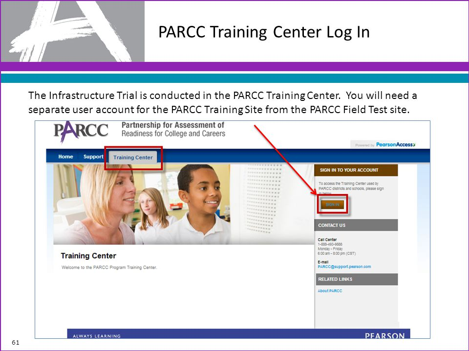 PARCC Training Center Log In