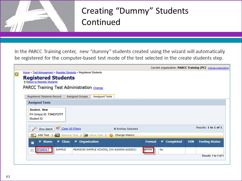 Creating Dummy Students Continued