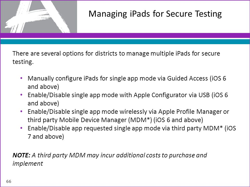 Managing iPads for Secure Testing