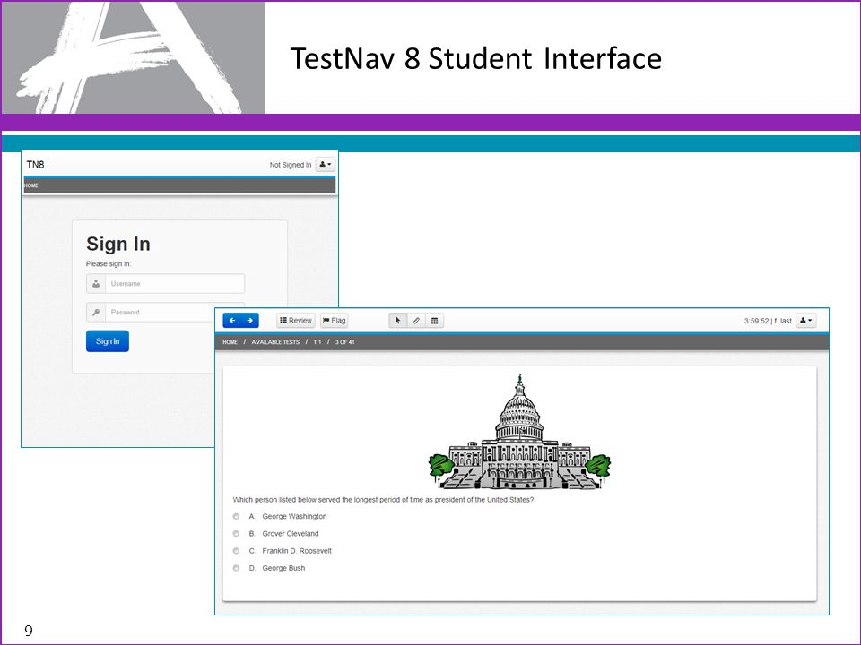 TestNav 8 Student Interface
