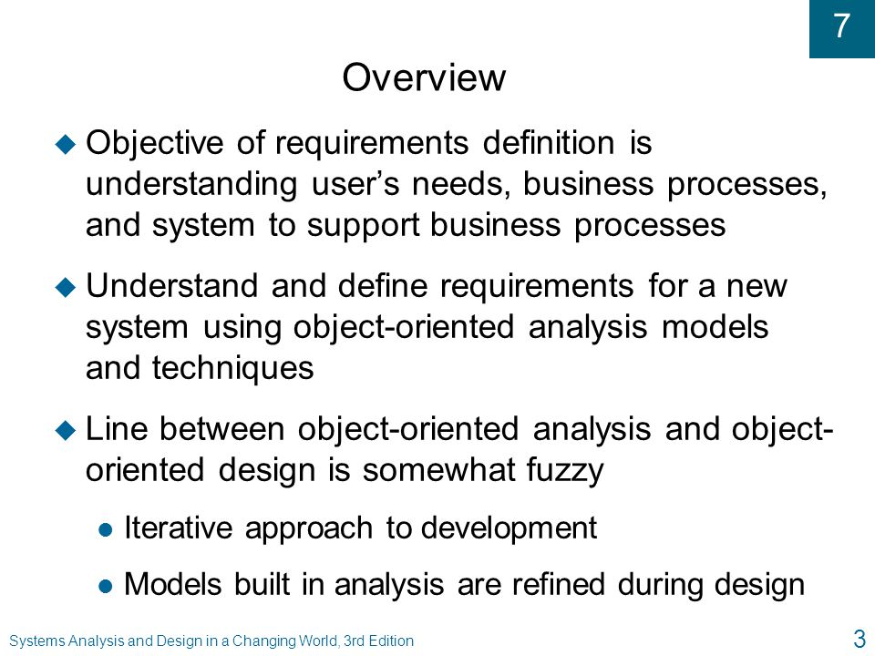 Overview Objective of requirements definition is understanding user's needs, business processes, and system to support business processes.