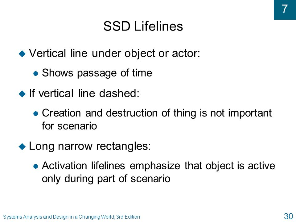 SSD Lifelines Vertical line under object or actor: