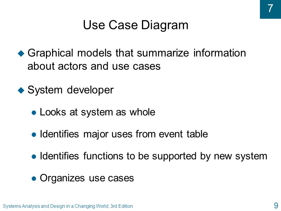 Use Case Diagram Graphical models that summarize information about actors and use cases. System developer.