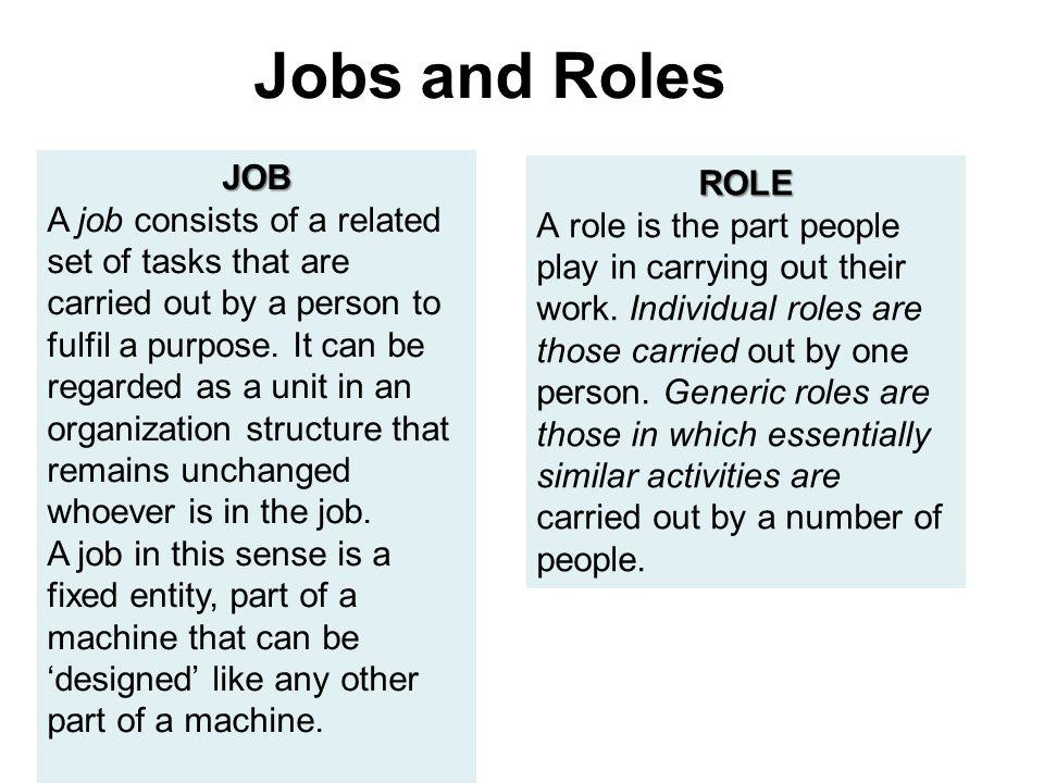 Jobs and Roles JOB.