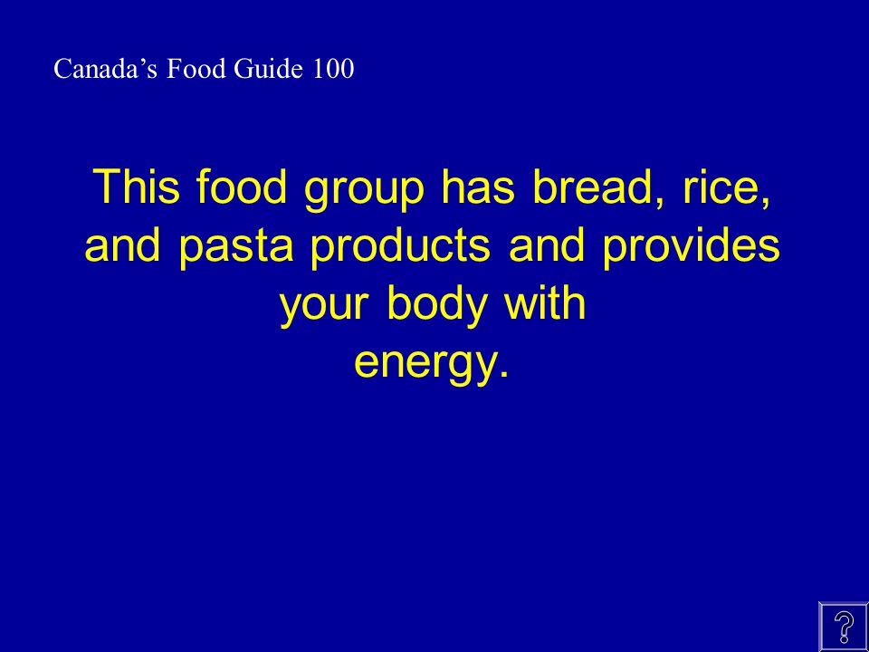 Canada Food Guide Jeopardy