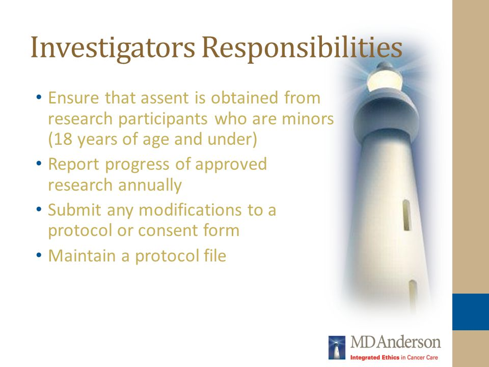 Investigators Responsibilities