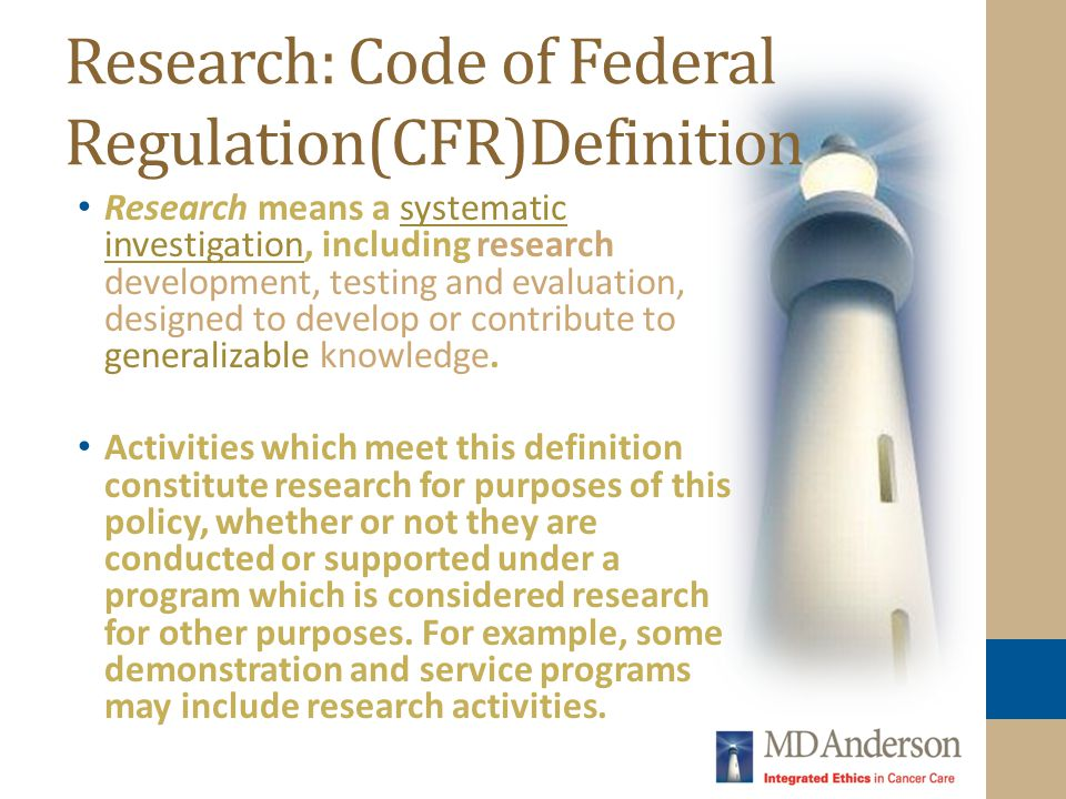 Research: Code of Federal Regulation(CFR)Definition