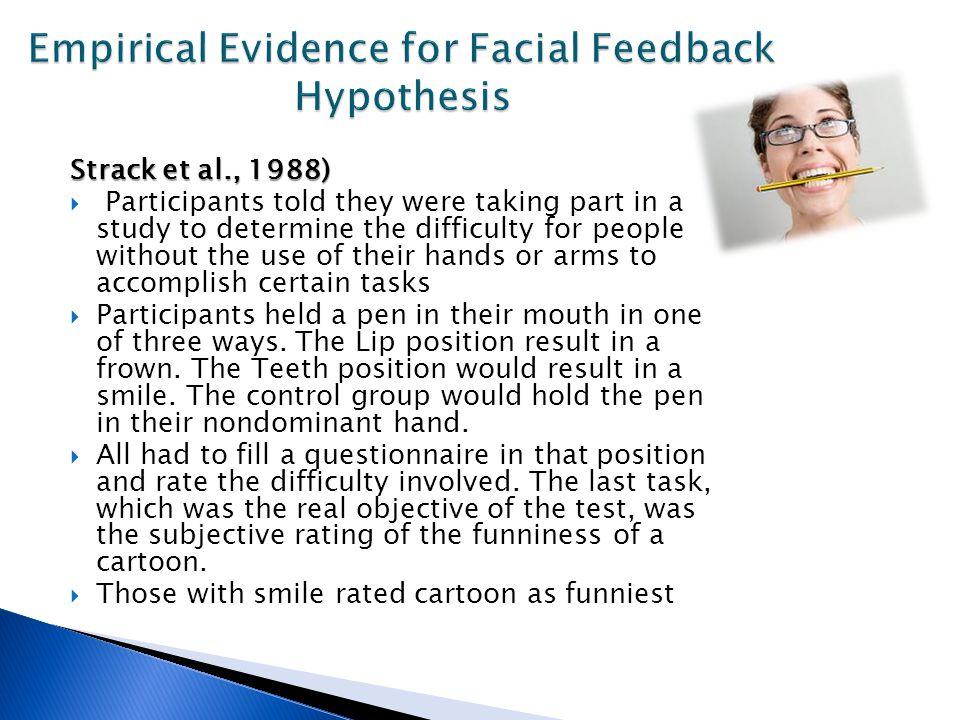 facial feedback theory 2012-6-27 journal of personality and social psychology 1980, vol 38, no 5, 811-824 nonverbal behavior and the theory of emotion: the facial feedback hypothesis.