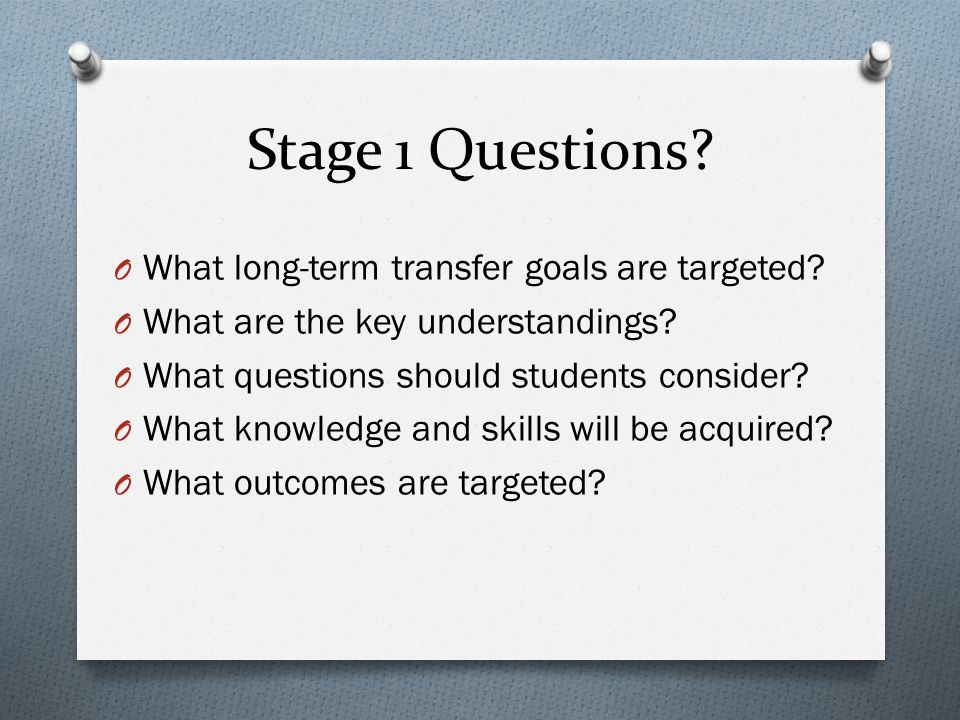 Stage 1 Questions What long-term transfer goals are targeted
