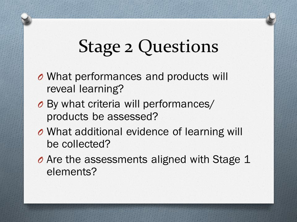 Stage 2 Questions What performances and products will reveal learning