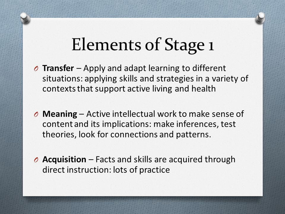 Elements of Stage 1