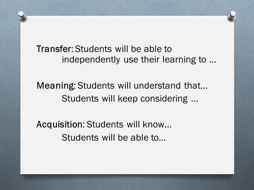 Transfer: Students will be able to independently use their learning to … Meaning: Students will understand that… Students will keep considering … Acquisition: Students will know… Students will be able to…