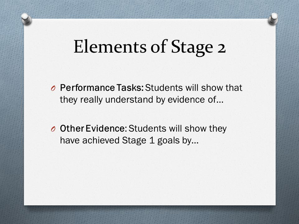 Elements of Stage 2 Performance Tasks: Students will show that they really understand by evidence of…