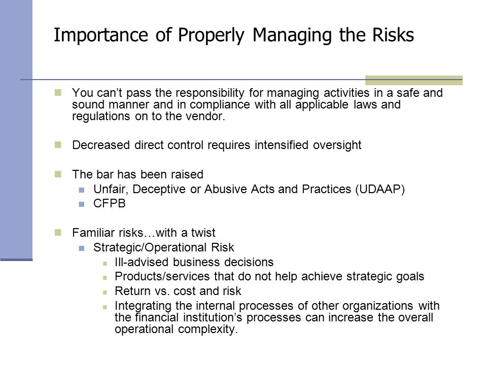 the importance of risk management 'risk management' therefore is an integral part of managing a business  firm's  business are then given maximum importance and strategies.