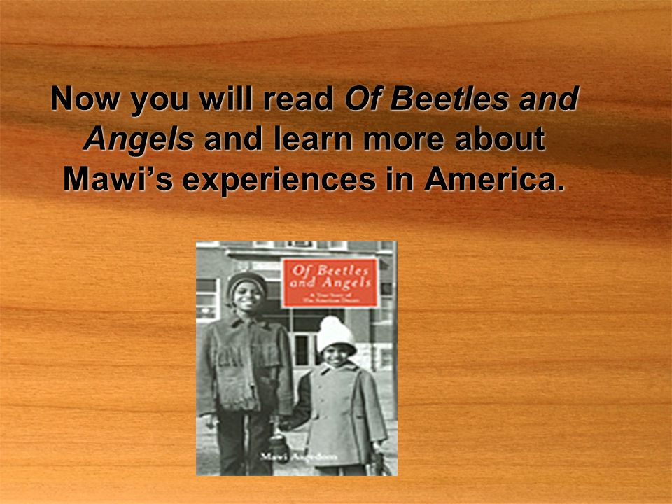 Now you will read Of Beetles and Angels and learn more about Mawi's experiences in America.