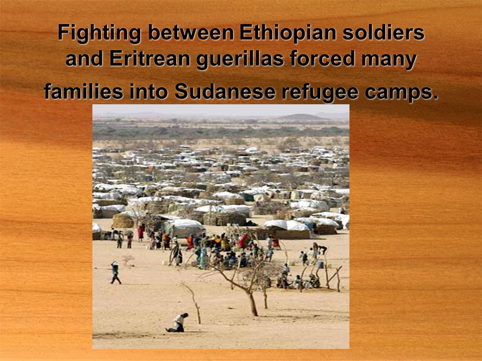 Fighting between Ethiopian soldiers and Eritrean guerillas forced many families into Sudanese refugee camps.