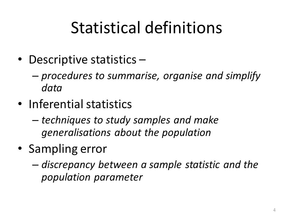 Statistical definitions
