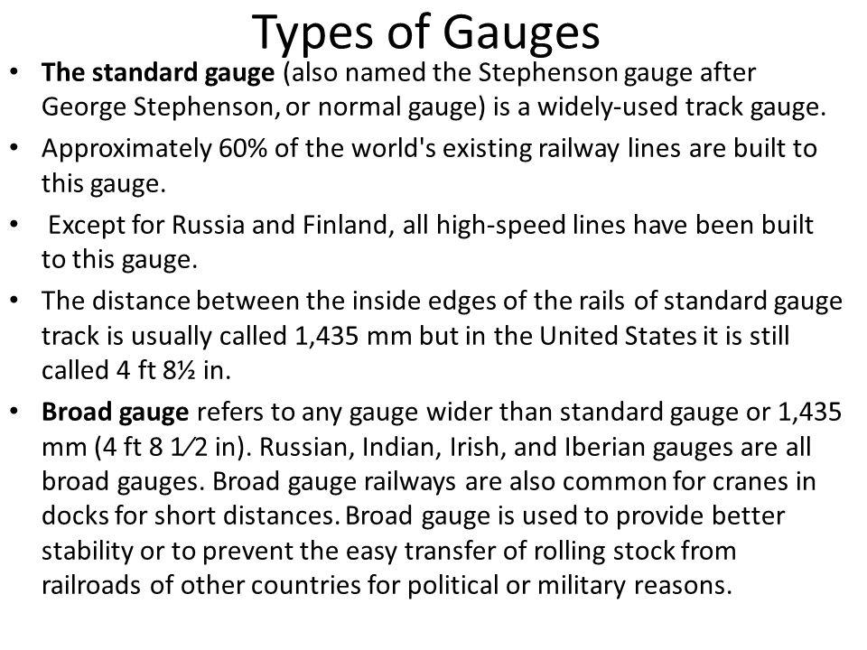 types of railway gauges pdf