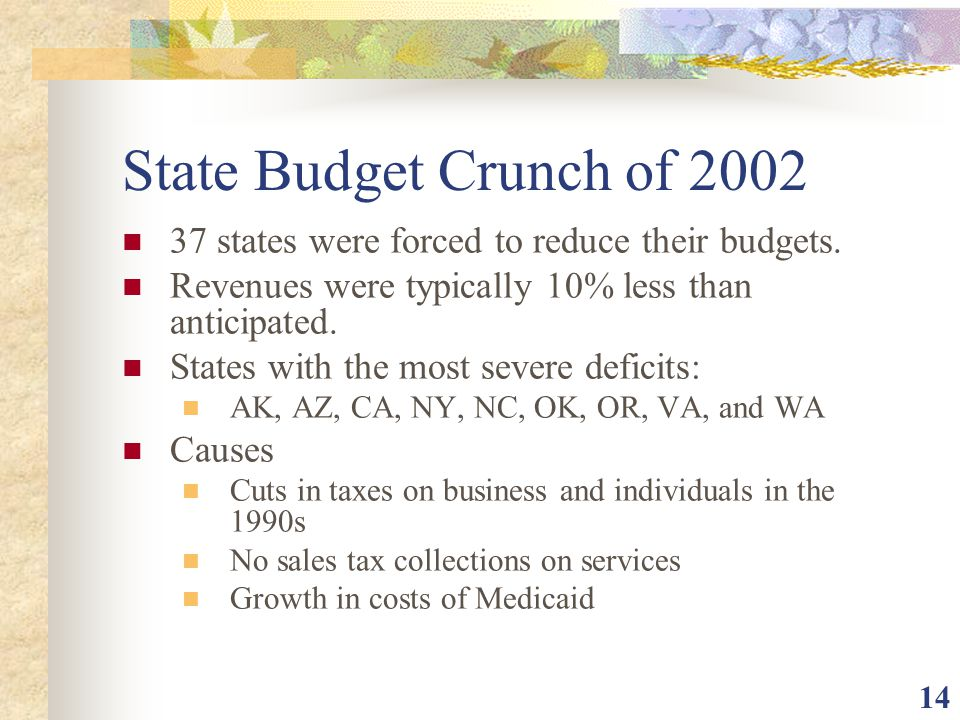 State Budget Crunch of states were forced to reduce their budgets. Revenues were typically 10% less than anticipated.