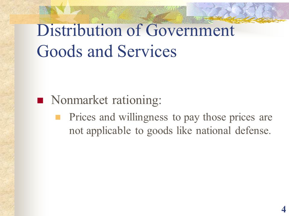 Distribution of Government Goods and Services