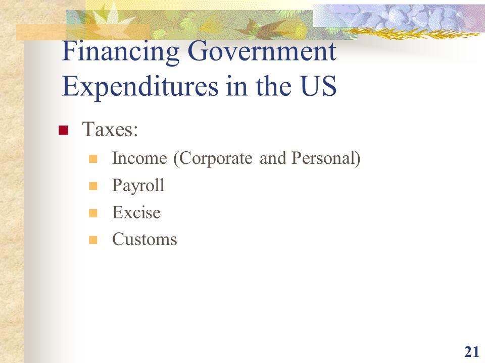 Financing Government Expenditures in the US