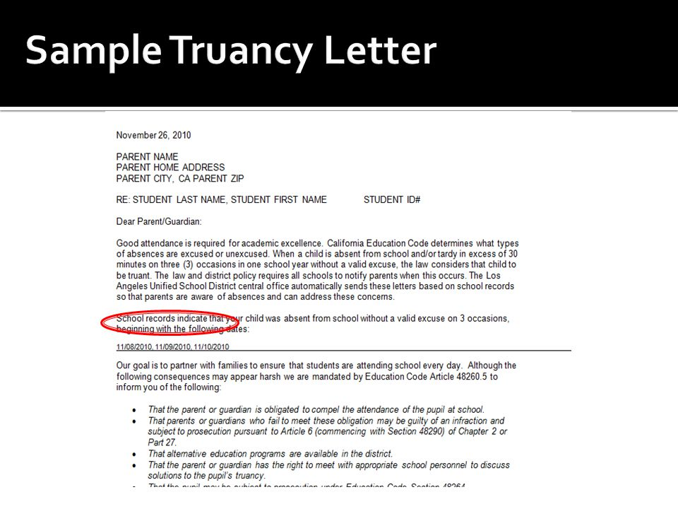 How To Write A Truancy Letter To Parents