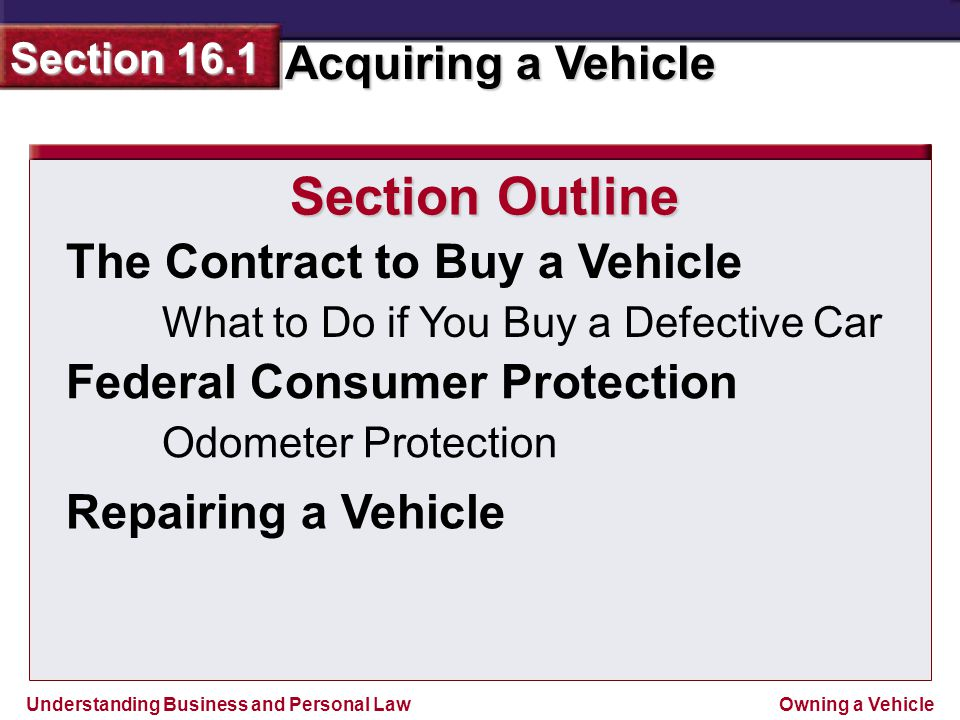Section Outline The Contract to Buy a Vehicle
