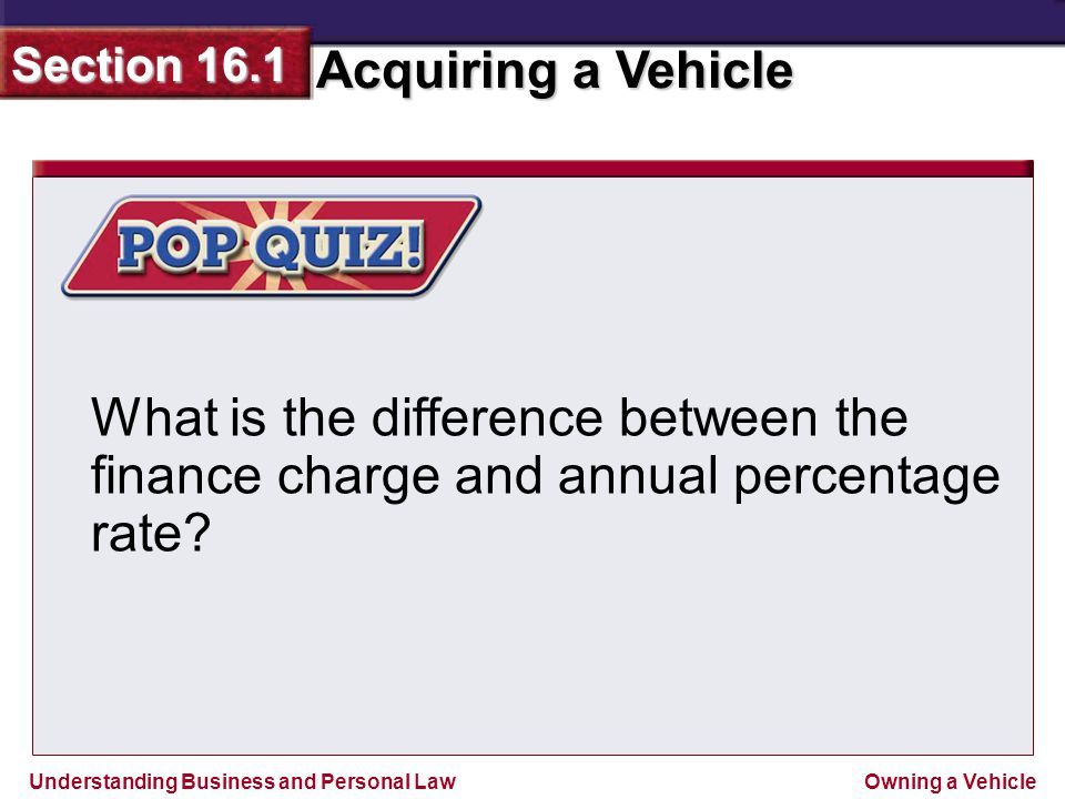 What is the difference between the finance charge and annual percentage rate