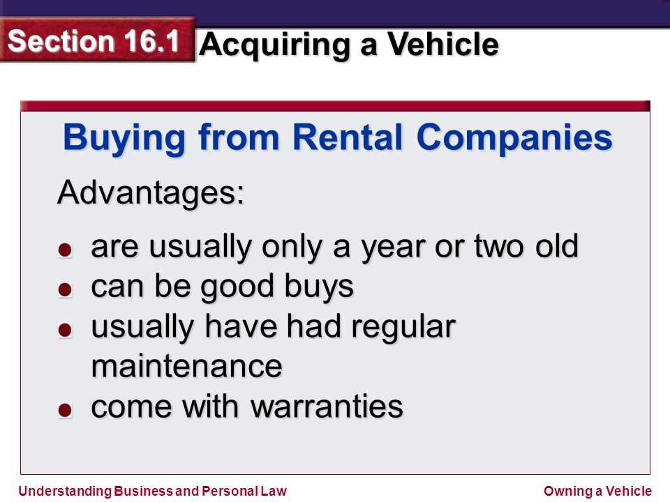 Buying from Rental Companies