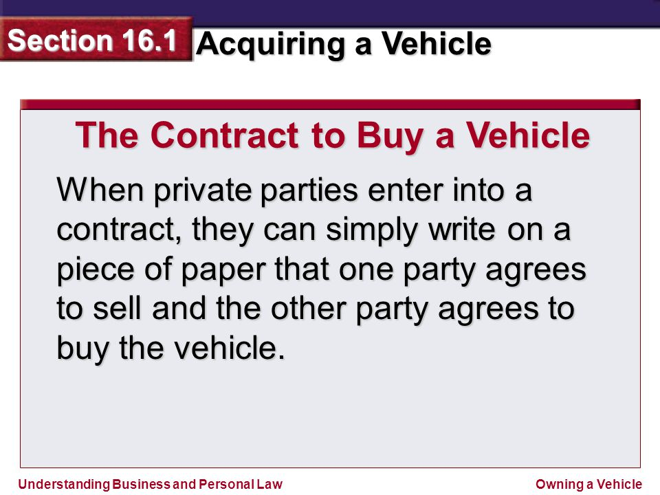 The Contract to Buy a Vehicle