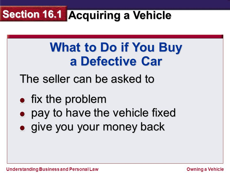 What to Do if You Buy a Defective Car