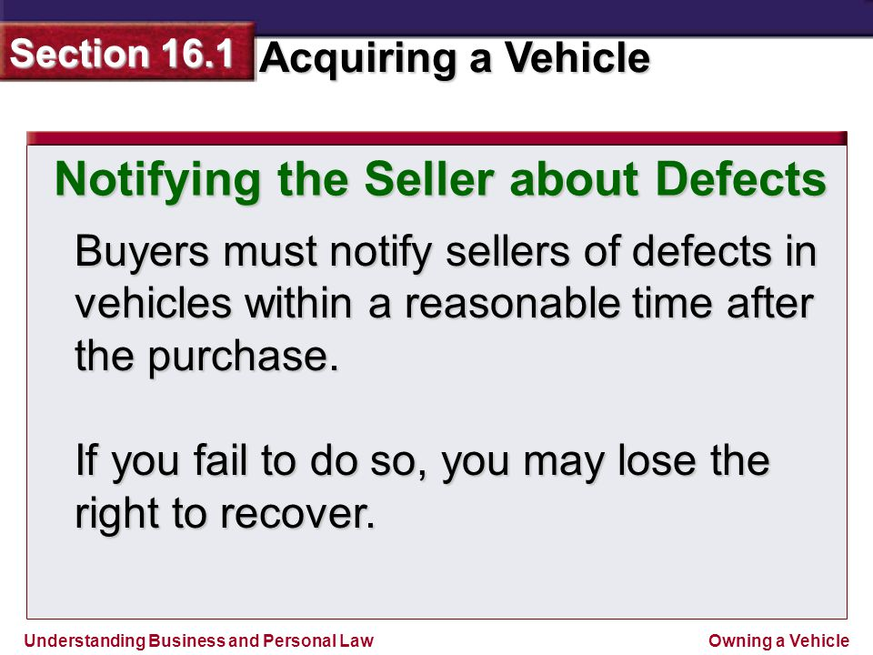 Notifying the Seller about Defects