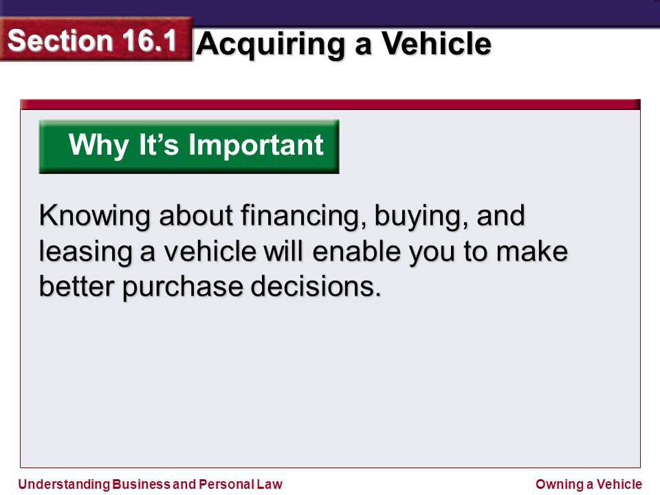 Why It's Important Knowing about financing, buying, and leasing a vehicle will enable you to make better purchase decisions.