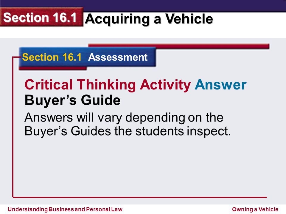 Critical Thinking Activity Answer Buyer's Guide