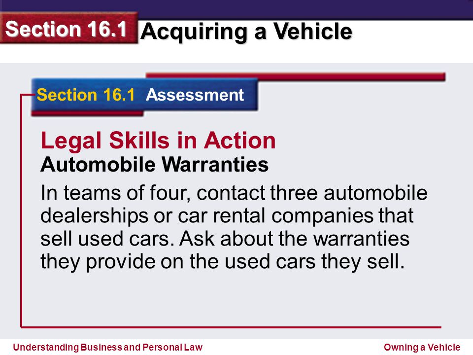 Legal Skills in Action Automobile Warranties