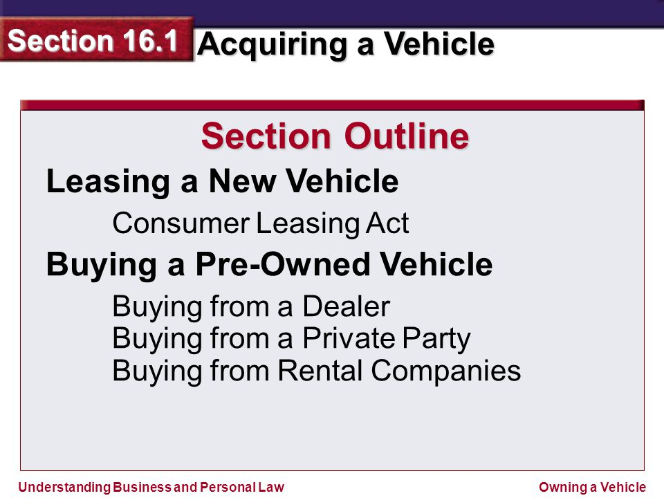 Section Outline Leasing a New Vehicle Buying a Pre-Owned Vehicle