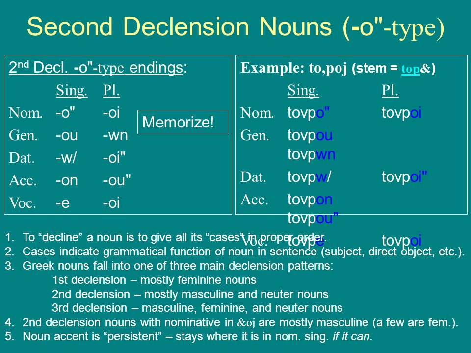Superior Second Declension Nouns ( O  Type)