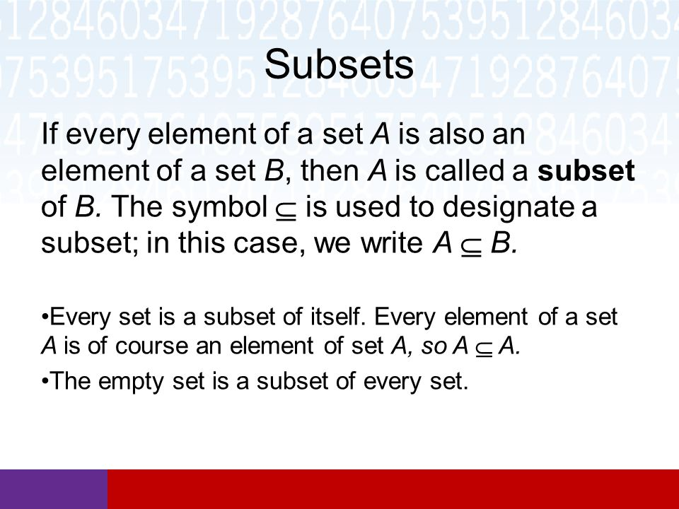 subsets and set operations