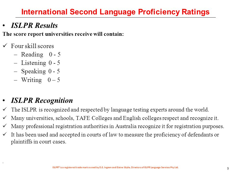 strategies for islpr test candidates Recognition of islpr® for testing and the specification of levels as already   and tasks) that are relevant to the candidate and the purpose of the testing that  language  demonstrate appropriate interview and testing strategies and an.