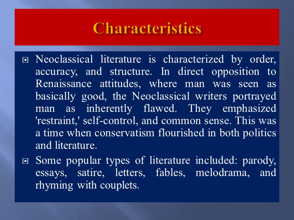 neoclassical poetry essay Neoclassical literature to the later romantic movement  literary history, literary  transition, neoclassicism, pre-romanticism, gothic, poetry,  modern essays.
