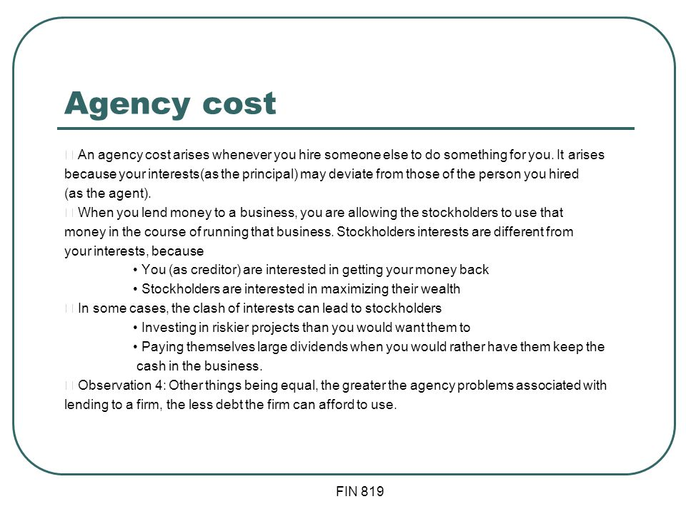 Agency Cost of Debt