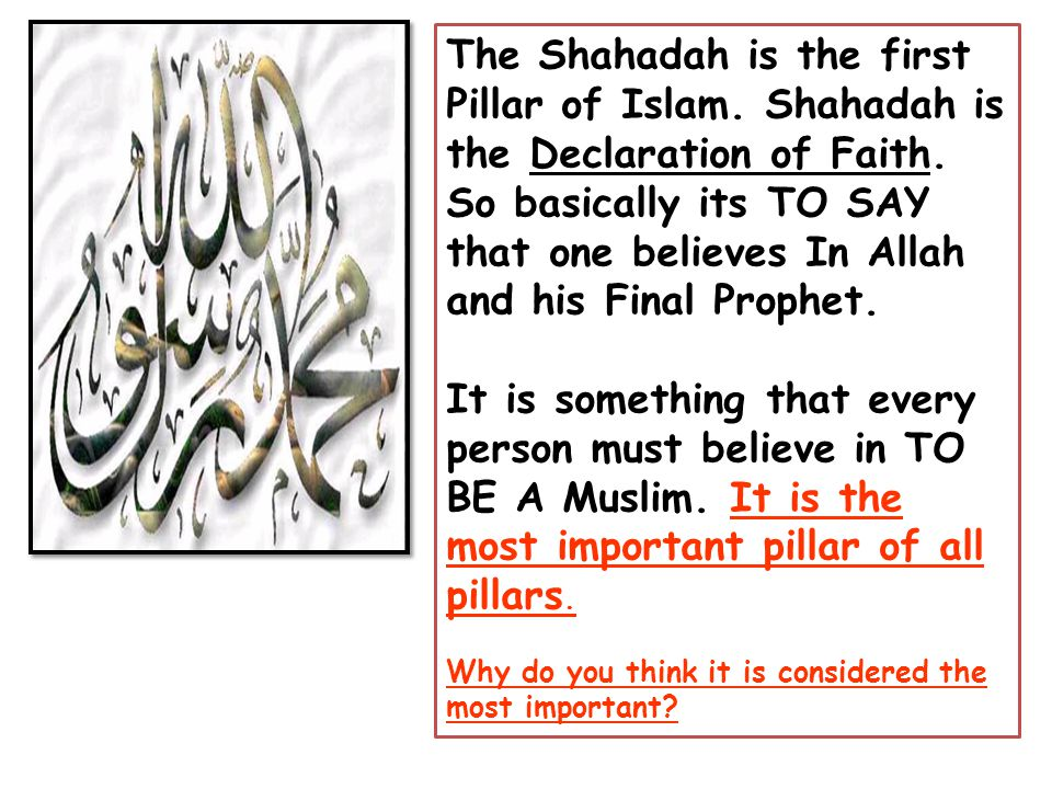 the shahadah essay Worship and devotion in daily life the profession of faith (witnessing), or shahadah, very simply states that there is no god but god (allah).